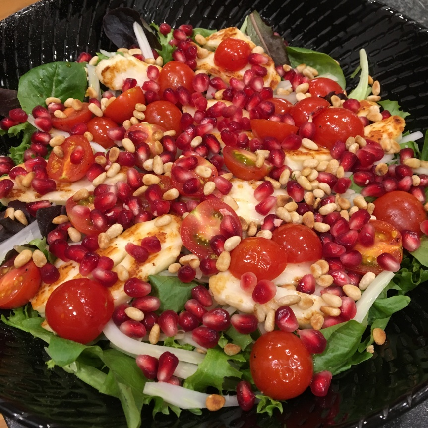 Pomegranate and Grilled Haloumi Salad